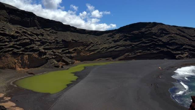 el lago verde near el golfo, lanzarote, canary islands, spain, atlantic, europe - atlantic islands stock videos & royalty-free footage