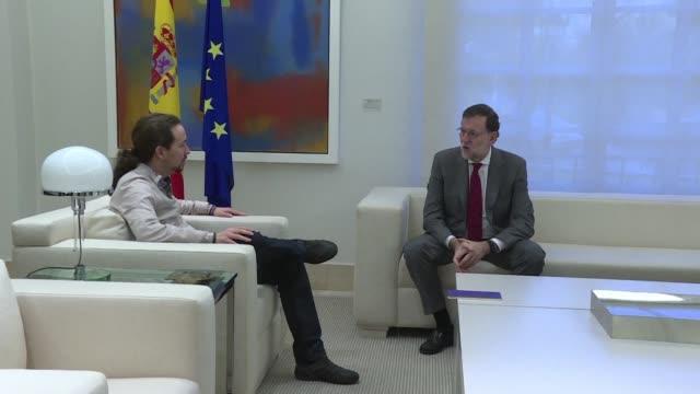 el lider de podemos pablo iglesias reitero su rechazo a cualquier formula que permita al partido popular formar un nuevo gobierno en espana - politica stock videos & royalty-free footage