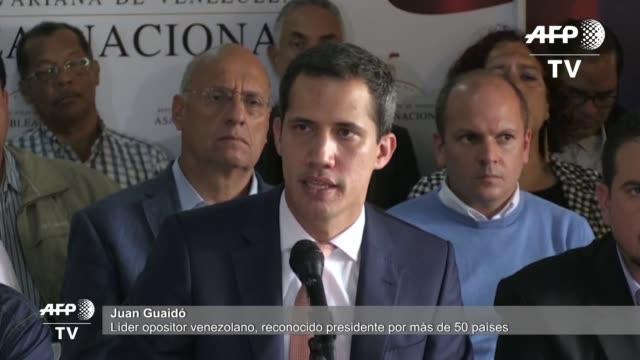 vídeos y material grabado en eventos de stock de el lider opositor juan guaido acuso el jueves al gobierno de nicolas maduro de llevar a cabo un desmontaje del parlamento venezolano tras la... - llevar