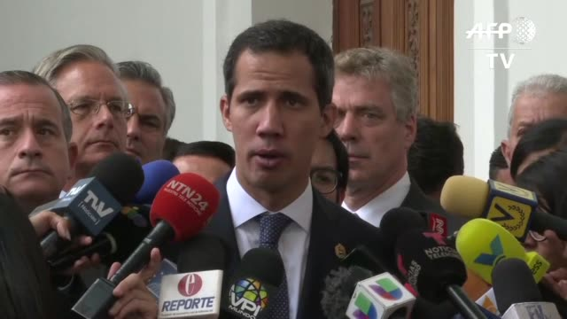 el lider opositor juan guaido reconocido por medio centenar de paises como presidente interino de venezuela anuncio el martes donaciones de italia... - reino unido stock videos & royalty-free footage
