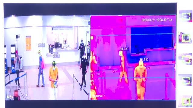 el metro de panamá comenzó a instalar cámaras térmicas en sus estaciones para detectar a viajeros con posible infección de covid19 en momentos que el... - eventuell stock-videos und b-roll-filmmaterial