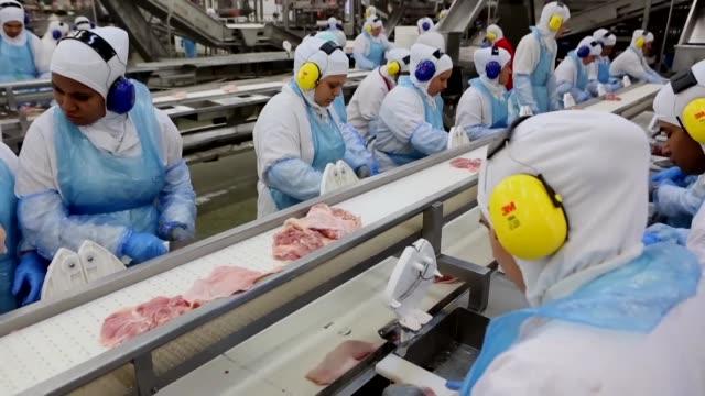 stockvideo's en b-roll-footage met el ministro brasileno de agricultura blairo maggi recorrio el martes una planta de pollo cerca de curitiba mientras aumenta el numero de mercados que... - agricultura