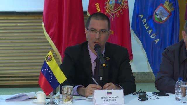 vídeos y material grabado en eventos de stock de el ministro venezolano de exteriores jorge arreaza aseguro el viernes en pekin que estados unidos esta detras de las manifestaciones opositoras que... - ee.uu