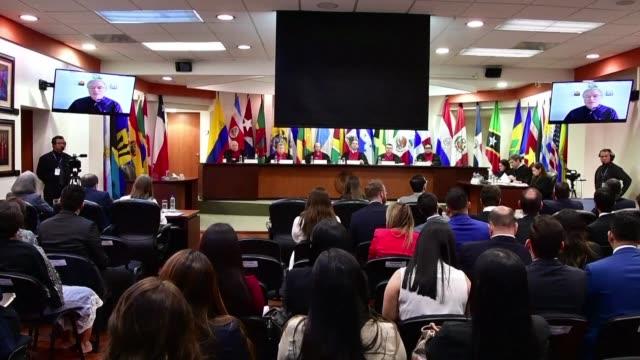 el opositor paraguayo juan arrom exiliado en brasil defendio el jueves en la corte interamericana de derechos humanos un pedido de indemnizacion por... - esilio video stock e b–roll
