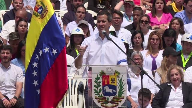 el opositor venezolano juan guaido reconocido como mandatario interino por 50 paises convoco el sabado movilizaciones en todo el pais el 23 de... - entrada stock videos and b-roll footage