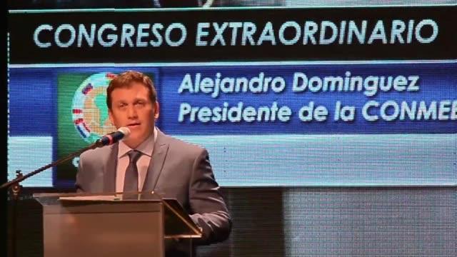 el paraguayo alejandro dominguez fue elegido este martes por unanimidad nuevo presidente de la conmebol durante un congreso extraordinario que busca... - congreso stock videos and b-roll footage