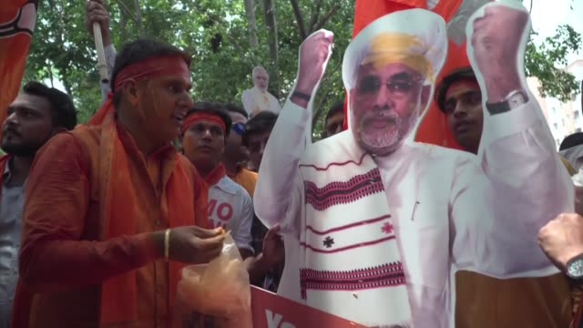 el partido nacionalista hindu bharatiya janata party del primer ministro narendra modi reivindico el jueves la victoria en las elecciones... - hinduism stock videos & royalty-free footage