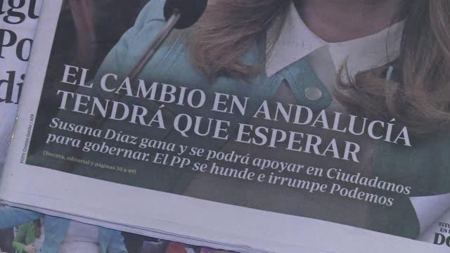 el partido socialista gao por amplio margen las elecciones autonomicas en andalucia irrumpiendo la formacion antiliberal podemos como tercera fuerza... - liderazgo stock videos and b-roll footage