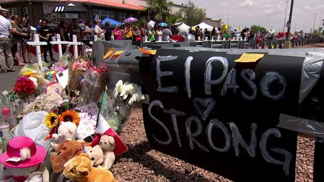 el paso mass shooting: youngest victim remembered; usa: texas: el paso: ext congresswoman veronica escobar interview sot various shot of flowers and... - memorial vigil stock videos & royalty-free footage