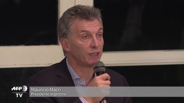 el presidente argentino mauricio macri dijo el viernes que venezuela no puede continuar sufriendo y pidio al gobierno de maduro abrirse al dialogo... - mauricio macri stock videos and b-roll footage
