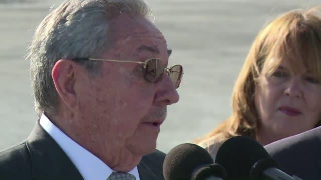 el presidente cubano raul castro dijo este martes que el dialogo con estados unidos va bien y que si el pais retira a cuba de la lista de paises... - terrorismo stock videos & royalty-free footage
