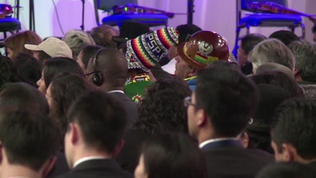 el presidente de bolivia evo morales pidio en el g77 la eliminacion del consejo de seguridad de la onu - evo morales stock videos & royalty-free footage