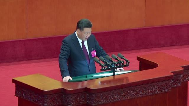 el presidente de china xi jinping inauguro el miercoles el xix congreso del partido comunista que volvera a consagrar en el poder al dirigente del... - congreso stock videos and b-roll footage