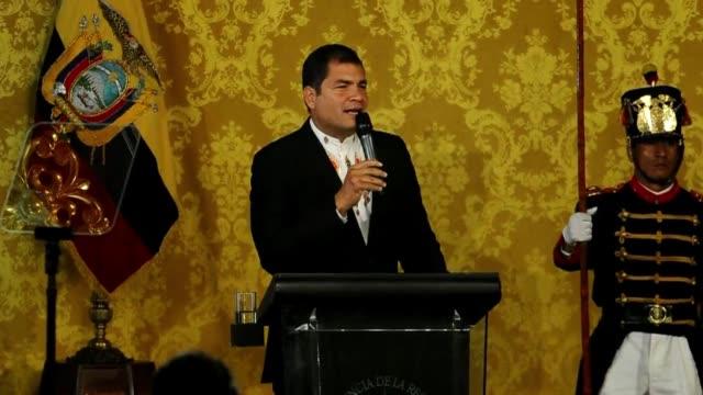 el presidente de ecuador rafael correa pidio que se anule la condena a tres anos de carcel y al pago de 40 millones de dolares contra tres directivos... - diario stock videos and b-roll footage