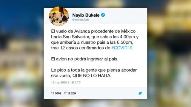 el presidente de el salvador, nayib bukele, prohibio el lunes que aterrizara en san salvador un avion procedente de ciudad de mexico en el que, dijo,... - avion video stock e b–roll