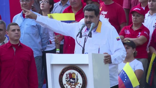 el presidente de venezuela nicolas maduro acuso este sabado al líder opositor juan guaido de haber dirigido un plan para asesinarlo y advirtio que no... - maduro stock videos & royalty-free footage
