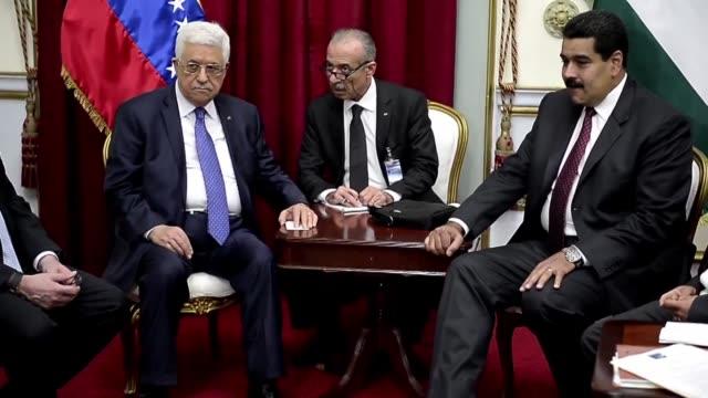 el presidente de venezuela nicolas maduro se comprometio este viernes a enviar diesel y petroleo venezolano a la autoridad palestina durante la... - palestina stock videos and b-roll footage