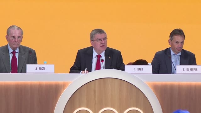 el presidente del comite olimpico internacional thomas bach hizo un llamamiento este martes en la 129ª sesion del congreso del organismo para una... - congreso stock videos and b-roll footage