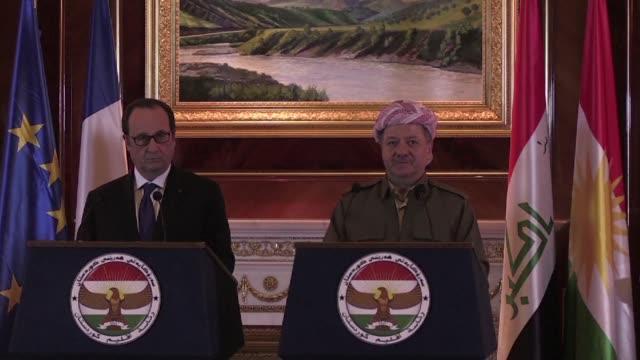 el presidente françois hollande sostuvo una reunión con el lider kurdo iraqui massud barrzani el lunes en erbil como parte de su visita a irak donde... - irak stock videos and b-roll footage