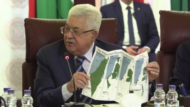 el presidente palestino mahmud abas anuncio el sabado la ruptura de todas sus relaciones incluida la seguridad de la autoridad palestina con israel y... - palestina stock videos & royalty-free footage