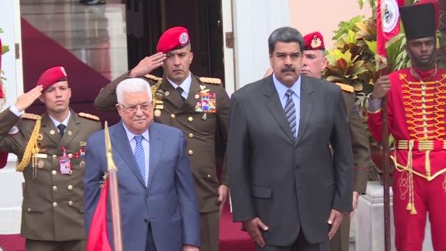 el presidente palestino mahmud abas se reunio el lunes en caracas con su homologo venezolano nicolas maduro en un momento de duras tensiones con... - palestina stock videos and b-roll footage