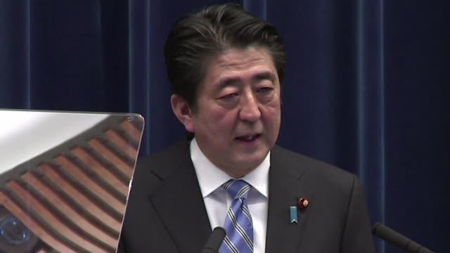 vídeos y material grabado en eventos de stock de el primer ministro japones shinzo abe informo este martes que convocara elecciones anticipadas y postergara el aumento del iva un dia despues del... - iva