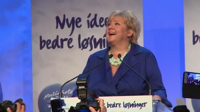 el primer ministro laborista noruego jens stoltenberg, reconocio su derrota en las elecciones legislativas del lunes mientras que la jefa de la... - prime minister stock videos & royalty-free footage