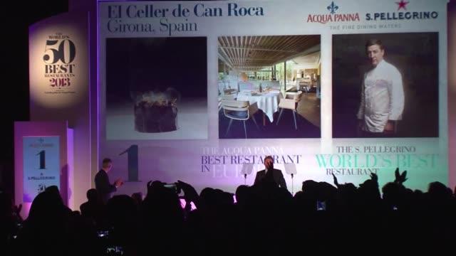el restaurante espanol el celler de can roca fue designado el lunes mejor restaurante del mundo 2013 por la revista britanica restaurant. voiced :... - roca video stock e b–roll