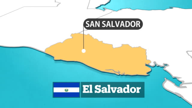 mappa salvadoregno con bandiera - america latina video stock e b–roll