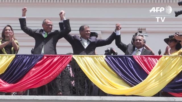 el socialista lenin moreno se declaro el lunes presidente de todos los ecuatorianos tras el triunfo en la segunda vuelta de las elecciones del... - ecuadorian ethnicity stock videos and b-roll footage