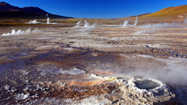 el tatio geysers in the atacama desert, northern chile - chile stock videos & royalty-free footage
