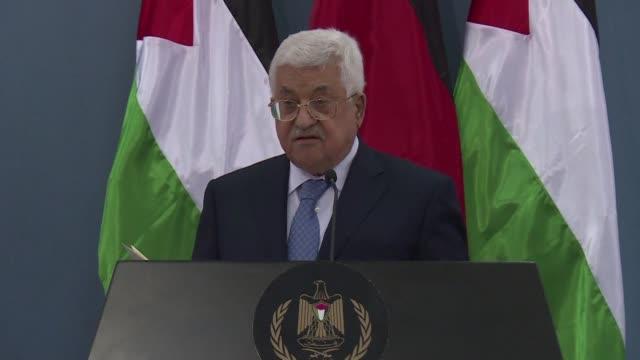 el titular de la autoridad palestina mahmud abas anunco el martes que el presidente estadounidense donald trump visitara pronto los territorios... - palestina stock videos and b-roll footage