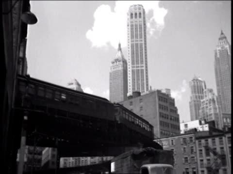 1947 la el train running around a curve / new york, united states - train vehicle stock videos & royalty-free footage