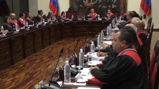 vídeos y material grabado en eventos de stock de el tribunal supremo de justicia venezolano acuso a estados unidos de empujarlo a dar un golpe de estado luego de que su vicepresidente mike pence... - ee.uu