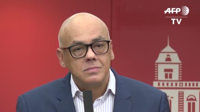 vídeos y material grabado en eventos de stock de el vicepresidente de comunicacion y cultura de venezuela jorge rodriguez aseguro el domingo que el líder opositor juan guaido es muy peligroso y... - llevar
