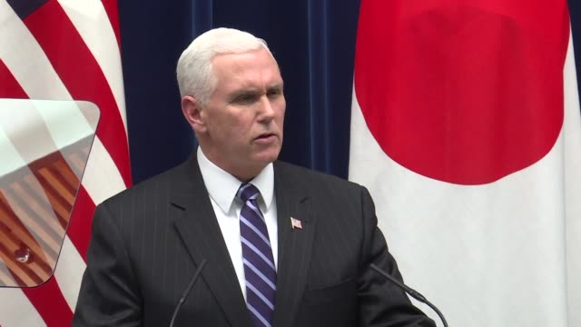 vídeos y material grabado en eventos de stock de el vicepresidente estadounidense mike pence dijo el miercoles en japon que su pais revelara pronto las sanciones mas duras jamas adoptadas contra... - ee.uu