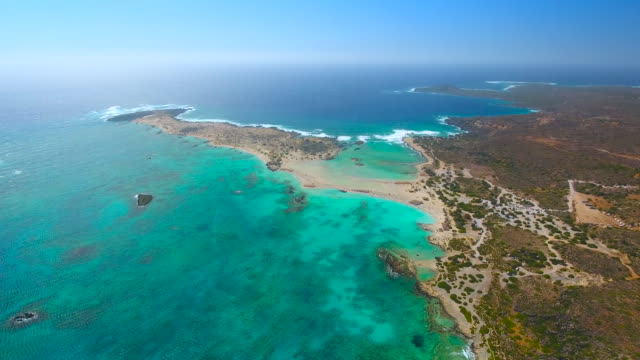 Elafonisi lagoon. Crete, Greece. Aerial drone shot.