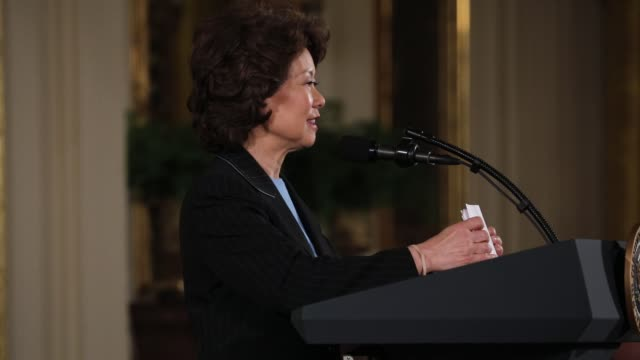 elaine chao secretary of the department of transportation attended president donald trump's event announcing the air traffic control reform... - transportation event stock videos and b-roll footage