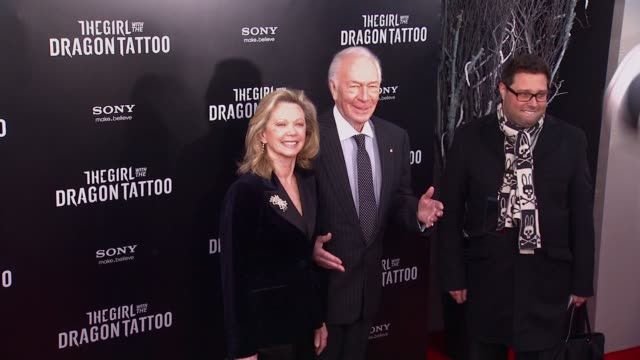 elaine taylor and christopher plummer at 'the girl with the dragon tattoo' new york premiere new york ny united states - the girl with the dragon tattoo stock videos and b-roll footage