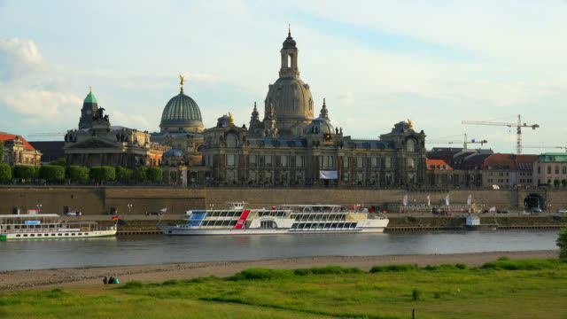 elbe river, bruehl's terrace, saxon house of the estates, church of our lady (frauenkirche), dresden, saxony, germany - dresden frauenkirche stock videos & royalty-free footage