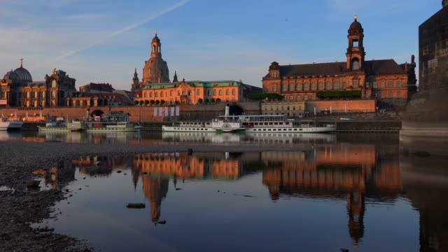 Elbe River with Bruehl's Terrace, Frauenkirche (Church of Our Lady) and House of the Estates, Dresden, Saxony, Germany