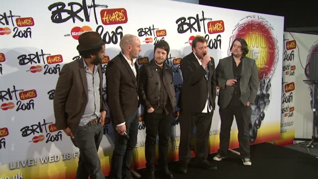 elbow on how happy they are to be involved in the celebrations and loving everyone at home and where they come from at the brit awards backstage at... - elbow stock videos & royalty-free footage