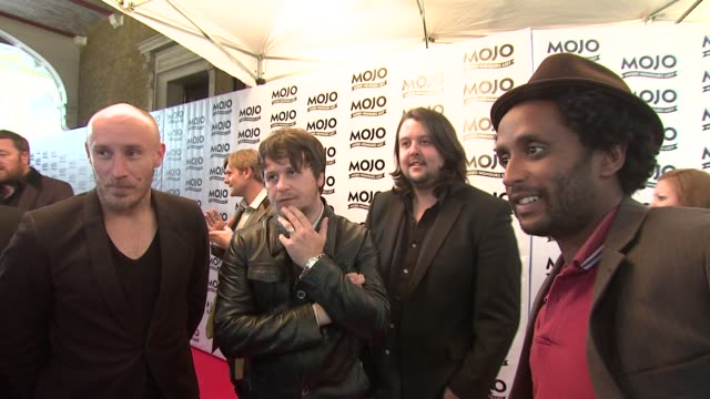 vídeos de stock e filmes b-roll de elbow on what they're nominated for and what they do with the awards at the the mojo honours list 2009 at london england - elbow
