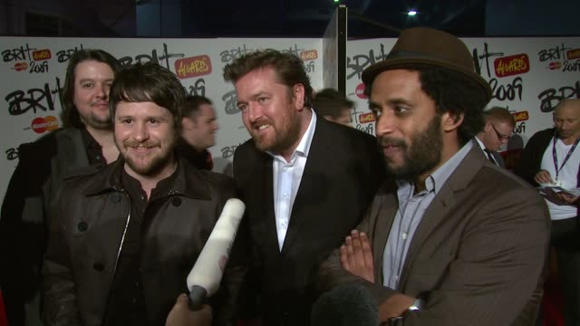 elbow on where the mercury prize is now kept at the brit awards arrivals at london - elbow stock videos & royalty-free footage