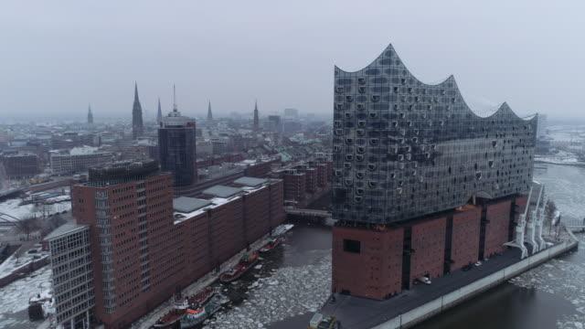 elbphilharmonie hamburg harbour winter ice aerial - hamburg germany stock videos & royalty-free footage