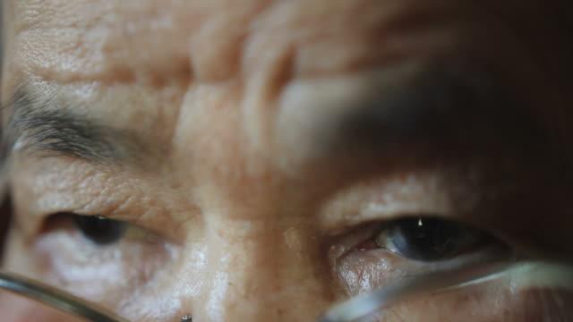 elder woman eyes close up
