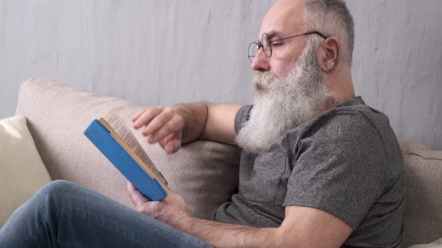 vídeos de stock e filmes b-roll de elderly bearded man reading a book on the sofa - barba