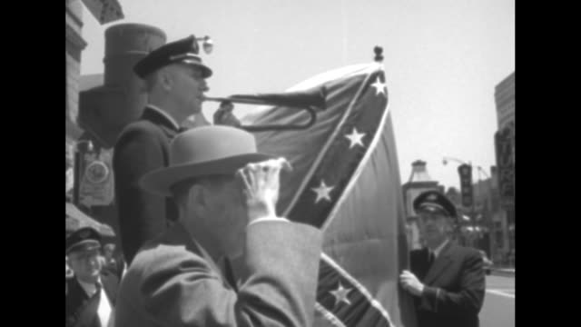 vs elderly confederate states army veteran stands in salute with bugler and confederate flag during the final reunion of the united confederate... - confederate flag stock videos & royalty-free footage