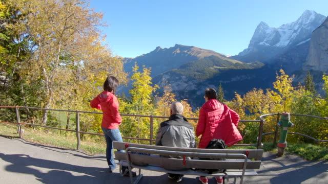 景色を眺めてのベンチに座っている老夫婦と娘 - 頭にかぶるもの点の映像素材/bロール