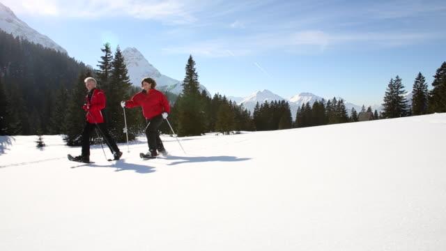 elderly couple cross-country skiing - skijacke stock-videos und b-roll-filmmaterial